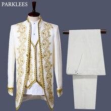 Męski styl angielski smokingowy garnitur klasyczny biały pałac Blazer mężczyźni Longline Prom etap piosenkarka 3 sukienka garnitury Homme Hombre