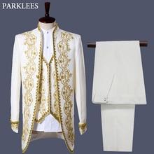 Mens England Style Tuxedo Suit Classic White Palace Blazer Men Longline Prom Stage Party Singer 3 Piece Dress Suits Homme Hombre