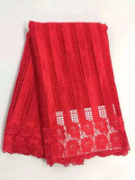 Gorgeous red strip style african cord lace fabric with flower water soluble guipure lace for party dress DW4 3