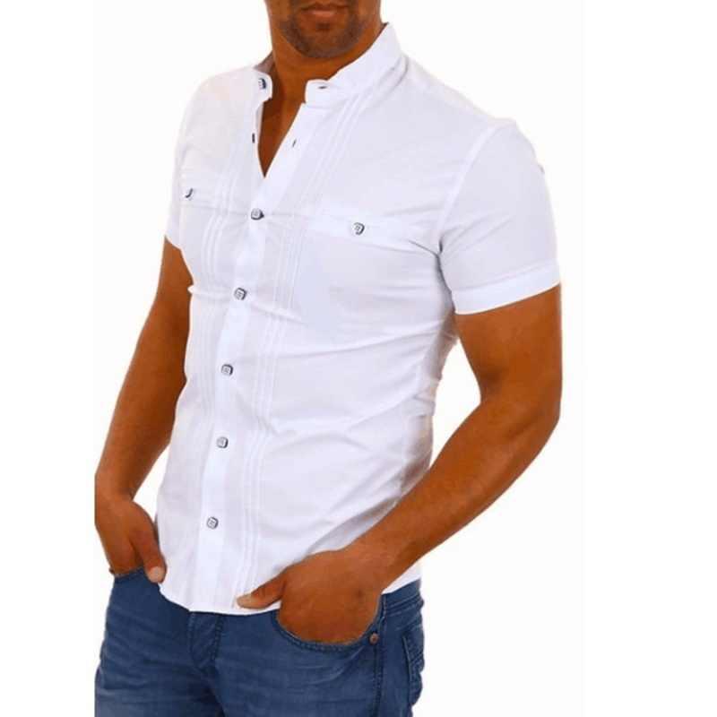 Litthing Erkekler Casual Gömlek Düz Renk Kısa Kollu Pamuk Düğme Aşağı Elbise Gömlek Pamuk V Yaka Smokin Gömlek Erkek Gömlek