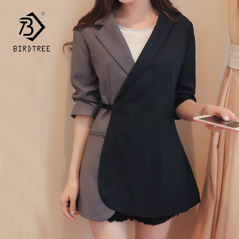 Womens Office Lady V-Neck Blazer With Lace up Belt Casual 2018 Spring New Arrival Spring Elegant Female Loose Hot Sales C84415F