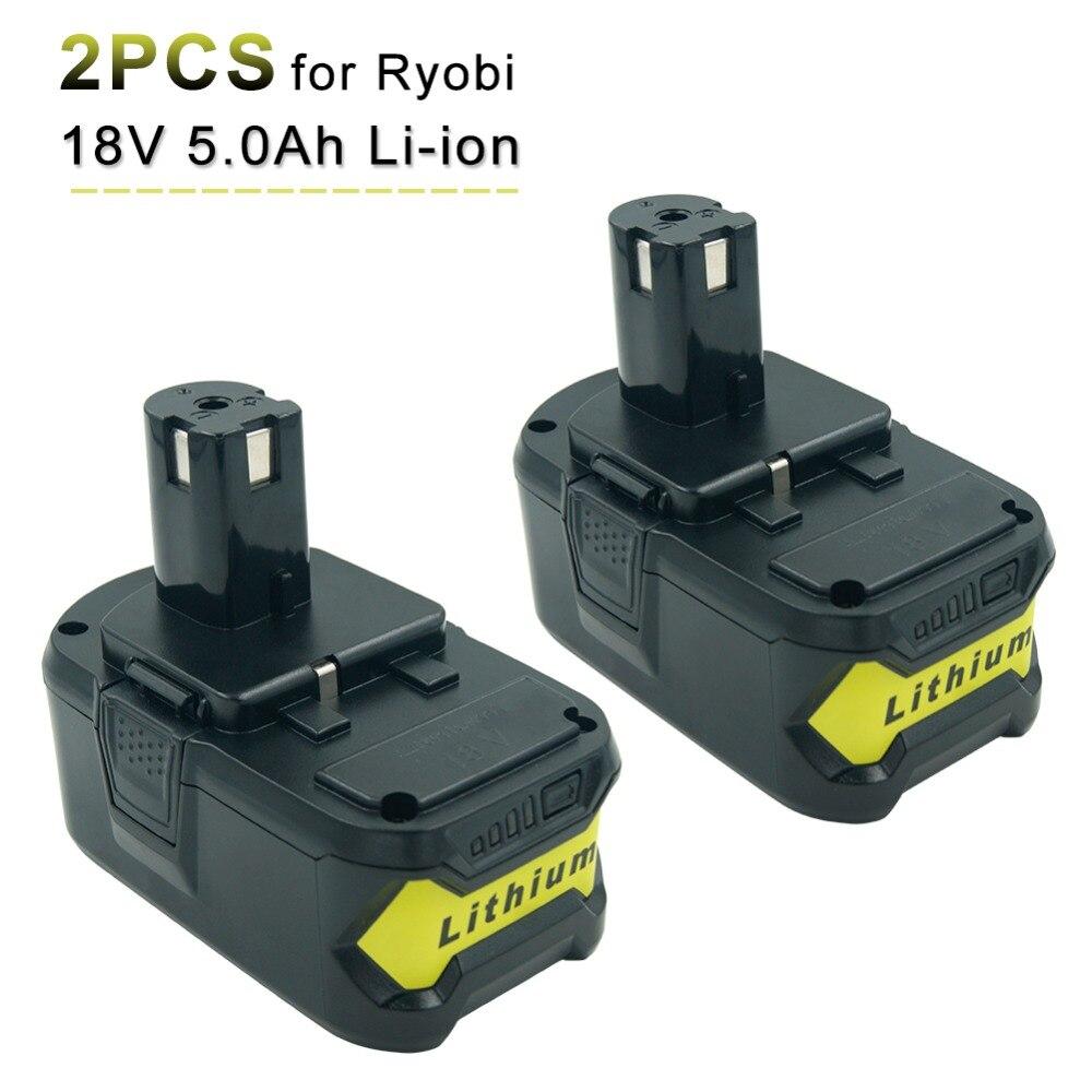 2 упаковки новый 18 в 5.0Ah литиевая аккумуляторная батарея для Ryobi RB18L40 RB18L50 один плюс Электроинструмент дрель батареи