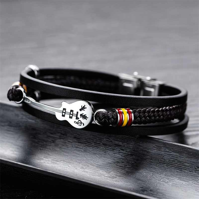 AZIZ BEKKAOUI Dropshipping gitara ze stali nierdzewnej bransoletki spersonalizowana skórzana bransoletka dla mężczyzn logo na zamówienie bransoletka z liny