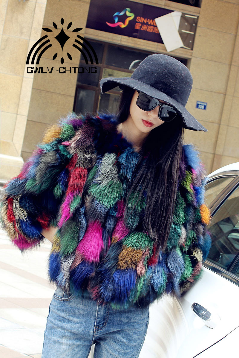 Real Natural Genuine Fox Fur Coat Women Fashion Multi-color Colorfull Fur Jacket Ladies Over Coat Outwear Custom Any Size