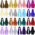 OHCOS Бесплатная Доставка 80 см Синтетические Волосы Длинные Переплетения Белая Блондинка Розовый Красный Синий Коричневый Парик Косплей Парик Наличие На Складе