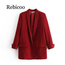 цена на Women Solid Color Long Blazer Jacket Pleated Sleeve Loose Coat Office Lady Work Style Small Suit Single Button Blazer