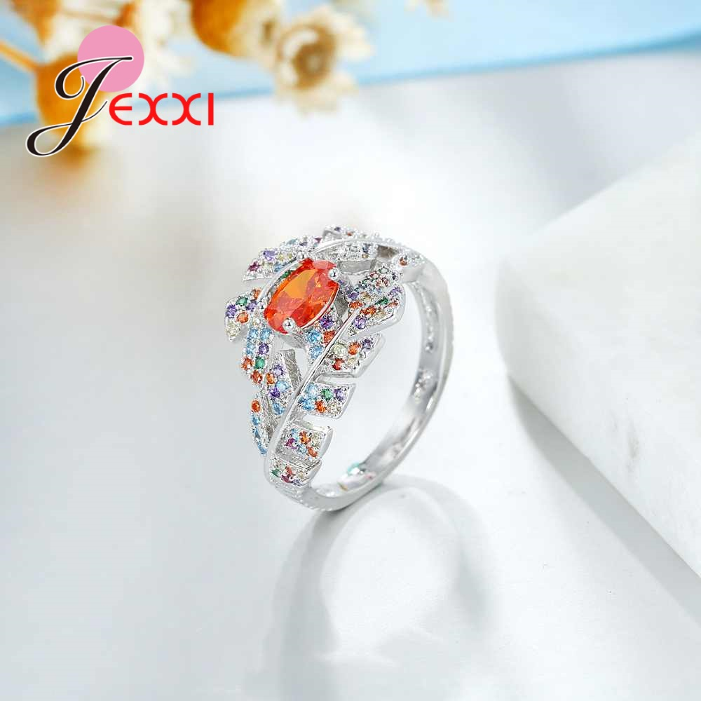 JEXXI Hot Sale 925 Sterling Silver Colorful Crystal Leaf Ring for Women Ladies Mosaic Oval Orange Stone Fashion Wedding Ring