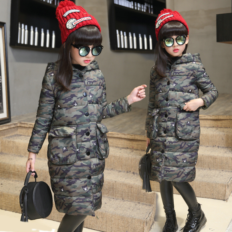 Teenage Girls Winter Jackets Children Warming Long Camouflage Coat Outwears Cotton Padded Hoode Thick Camouflage Coat Y846 teenage girls winter jackets children warming long camouflage coat outwears cotton padded hoode thick camouflage coat y846