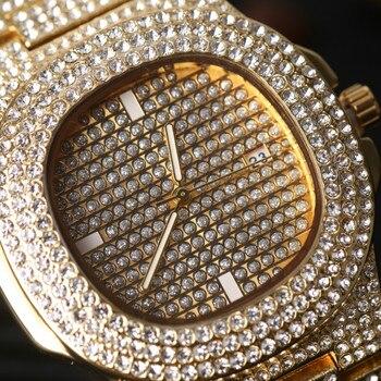 Di Lusso In Oro Hip Hop Gioielli Alla Moda Watch & Collana Combo Set Gli Uomini Di Hip Hop Della Collana Della Catena Della Vigilanza Del Diamante Di Ghiaccio Fuori Orologio Per Gli Uomini