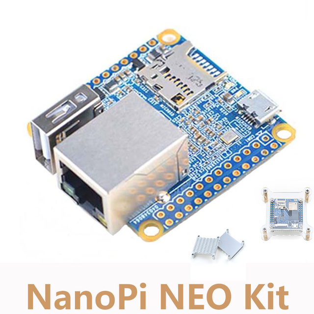 NanoPi NEO Kit Allwinner H3 Quad-core Cortex-A7 Development Board+Heat Sink+Acrylic Bracket Case NP014