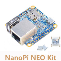 NanoPi NEO Kit Allwinner H3 Quad-core Cortex-A7 Development Board+Heat Sink+Acrylic Bracket Case NP014