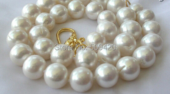 W и O658 >> потрясающие большой 11- 13 мм круглый белый пресной воды искусственного жемчуга ожерелье