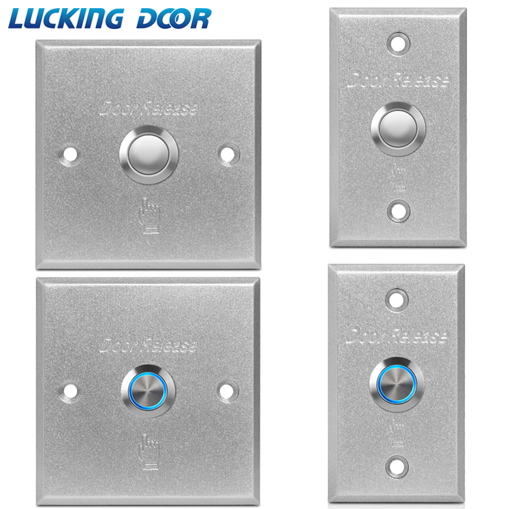 LUCKING DOOR Door Exit Button Release Push Switch For Access Control System LED Light Inciator Aluminum Alloy Push Button Switch