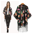 Summer plus size women  coat  printed jacket chiffon  shirt   shawl Sunscreen Tassel  cardigan kimono