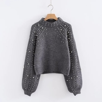 Pearl Beaded Knit Jumper 2017 Autumn Winter Womens Pullover Sweaters Gray Round Collar Long Sleeve Casual