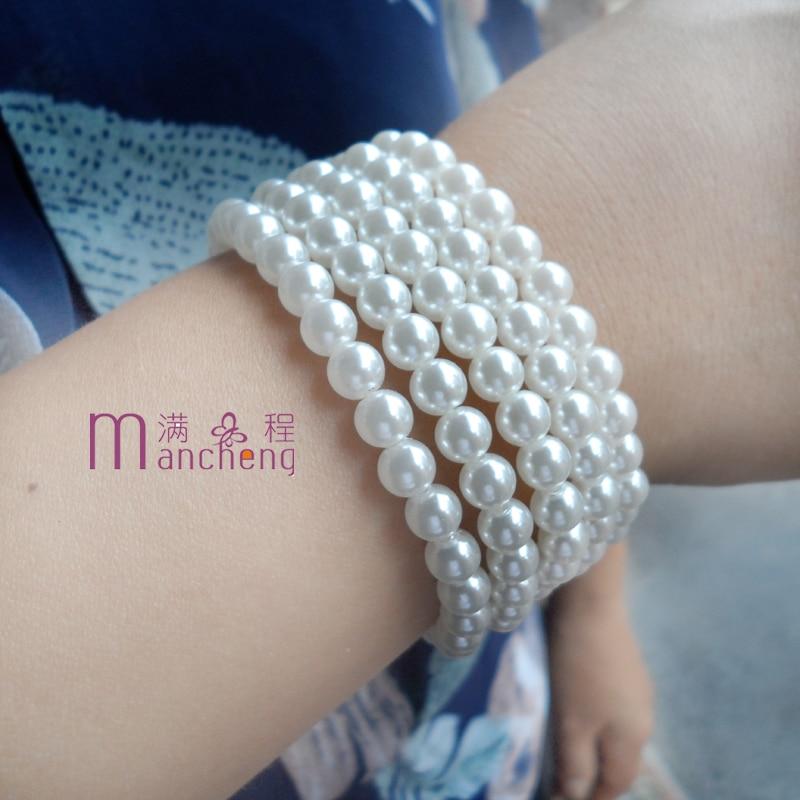 5PCS/Lots New 6mm Pearl Beaded Bracelet Fashion 6MM White Pearl Beads Bracelet with Stretch Imitation Pearl strand Bracelets