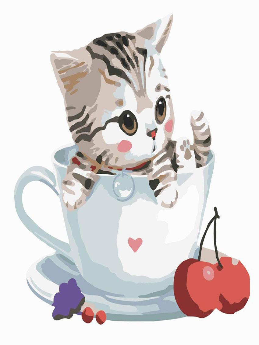 US $8 4 OFF Dekorasi Natal Untuk Digital Minyak Lukisan Mewarnai Gambar Kit Untuk Lukisan Pada Kanvas Lukisan By Numbers New Cat Decorations