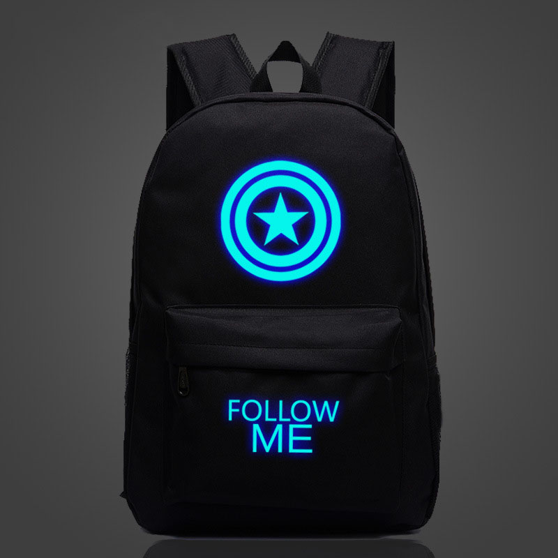 Avengers Captain America Backpack Shield Luminous Printing Men's Large Capacity Ttravel Rucksack Teenagers Schoolbag Wholesale