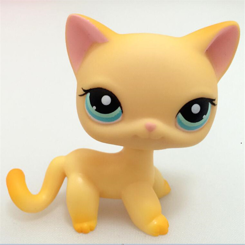 Lps Toy Yellow Blue Eyes Pink Ear Standing Short Hair Cat Animal Pet Shop Kitty free delivery 5cm new pet genuine original lps 64 rare pink white short hair cat kitty blue eyes collection figure toys