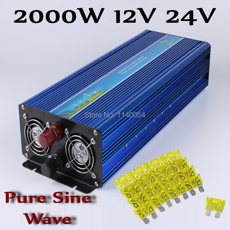 2000W Off Grid Inverter DC12V 24V to AC110V/220V, 100% Pure Sine Wave Output Solar Wind Power Inverter 2000W 12V 24V free shipping 600w wind grid tie inverter with lcd data for 12v 24v ac wind turbine 90 260vac no need controller and battery