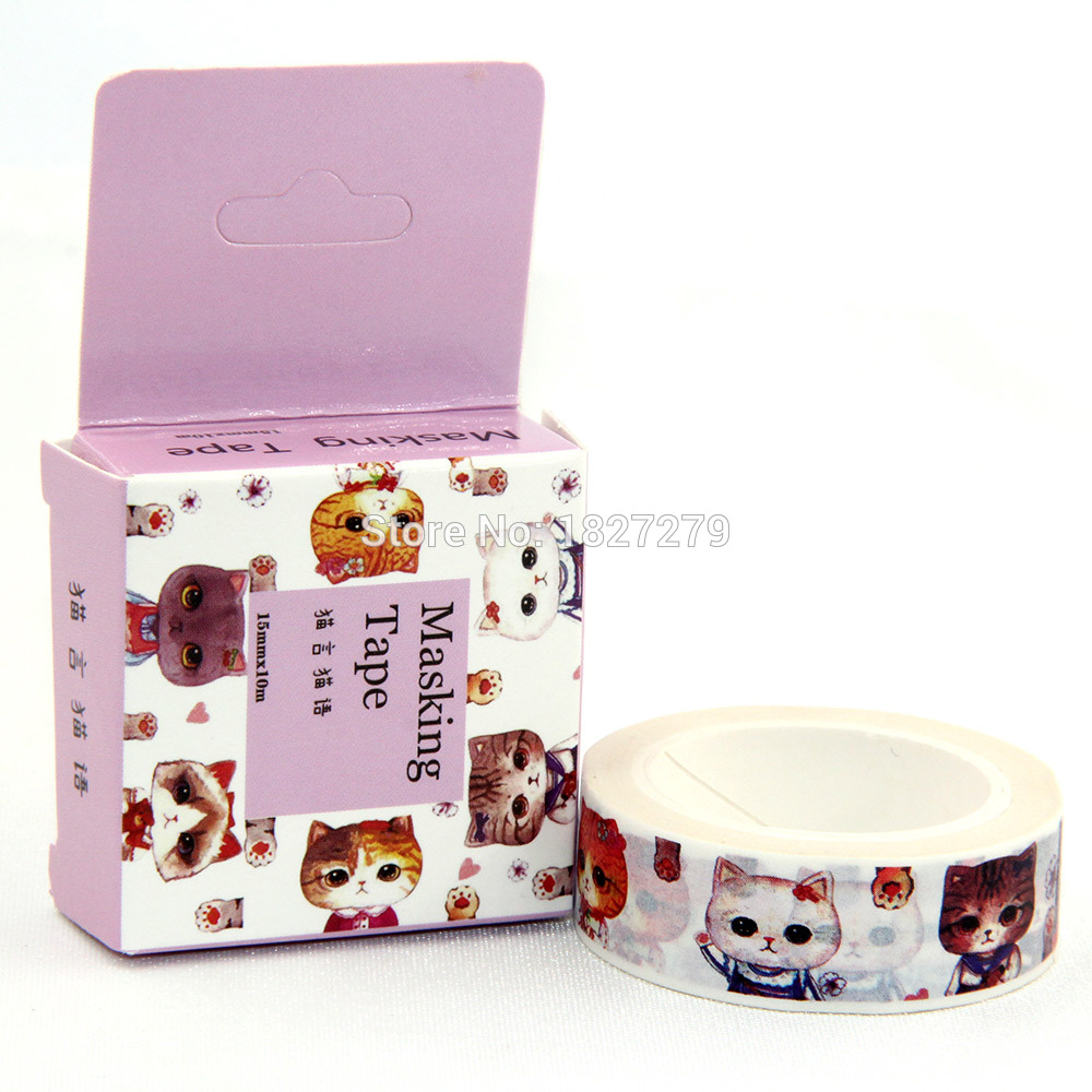 1X Cute Cat Design Washi Tape DIY Strong Sticker Japanese Adhesive Washi Tape Cat Box