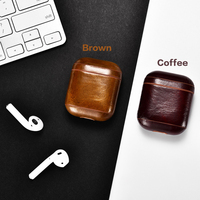 Leather Earphone Case Protective Cover For Apple Airpods Airpod Accessories Dust proof Retro Bluetooth Headphone Case Waterproof