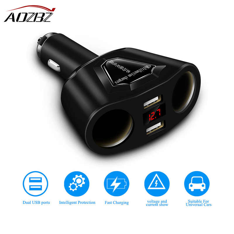 AOZBZ 3.1A Dual USB Car Charger with 2 Cigarette Lighter Sockets 120W Power Support Display Current Volmeter for iPhone