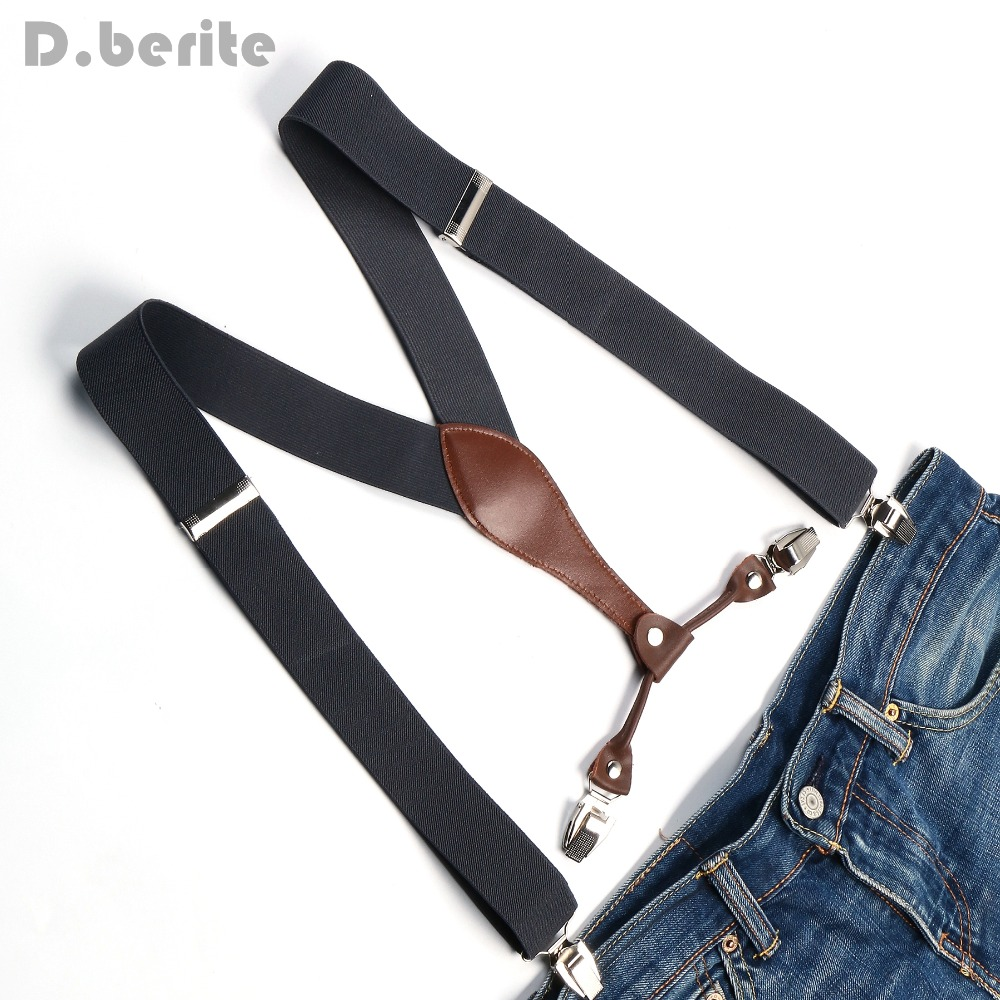 Men's Suspenders Women's Braces Unisex Elasticity Adjustable Metal Clip-on Solid Grey BD608