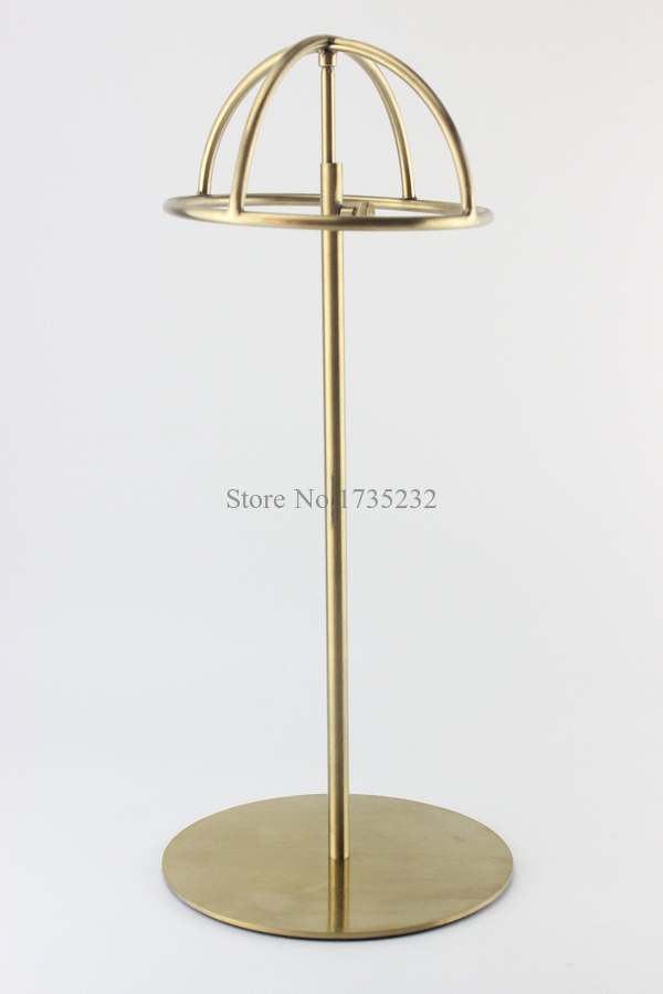 Titanium Gold Polish Adjustable Height Hat Display Stand Metal Hat Cap Display Rack Holder hat holder rack aluminum plastic board eyeglass sunglasses display holder rack stand for 52pairs each distance 0 5cm total height 940mm 1pc lot