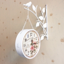 2019 new hot sale wall clock watch clocks Modern Antique Style home decoration two sides bird iron Quartz clock Shabby chic