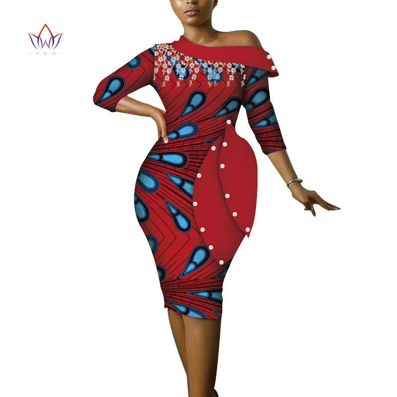 604f322b13191 New Style 2019 Christmas Party Dresses for Women Bazin Stand Collar ...