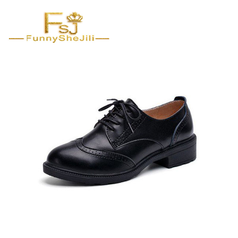Women's Shoes White And Black Womens Oxfords Lace Up Brogues Vintage Shoes Spring Autumn Attractive Noble Incomparable Fsj Sexy Elegant Fashionable Patterns Shoes