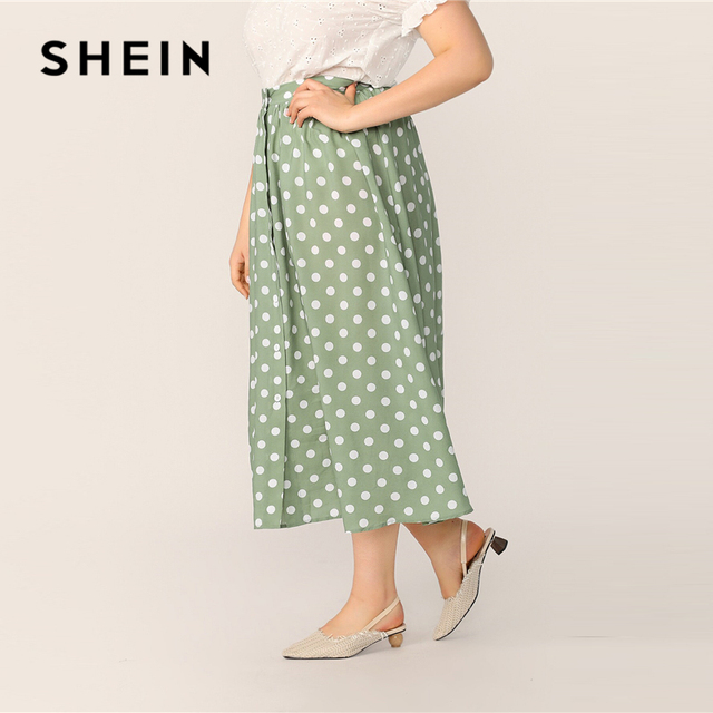 SHEIN Plus Size Green Polka Dot Button Up A Line Skirt 2019 Women Spring Summer Casual Elegant Long Loose Officewear Skirts 1