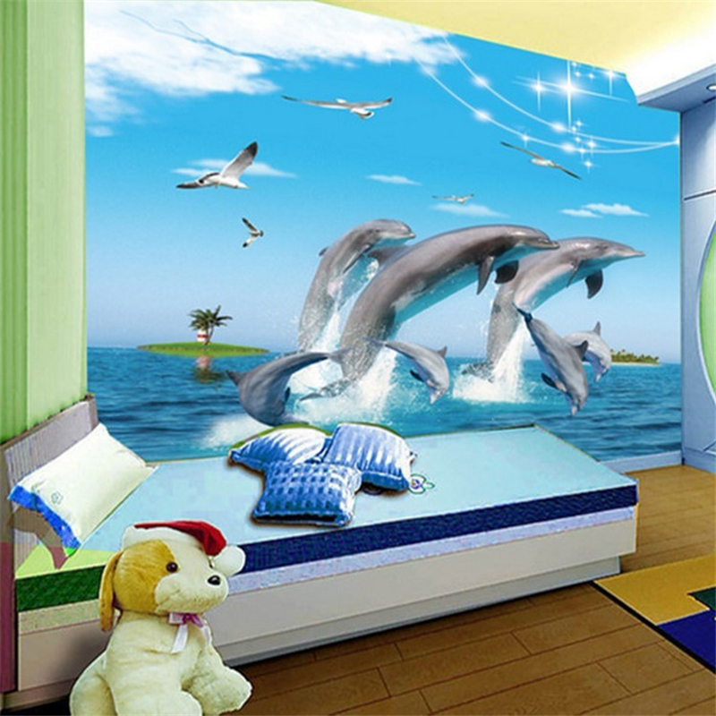 Beibehang underwater dolphin cartoon children 39 s room for 3d aquarium wallpaper for bedroom