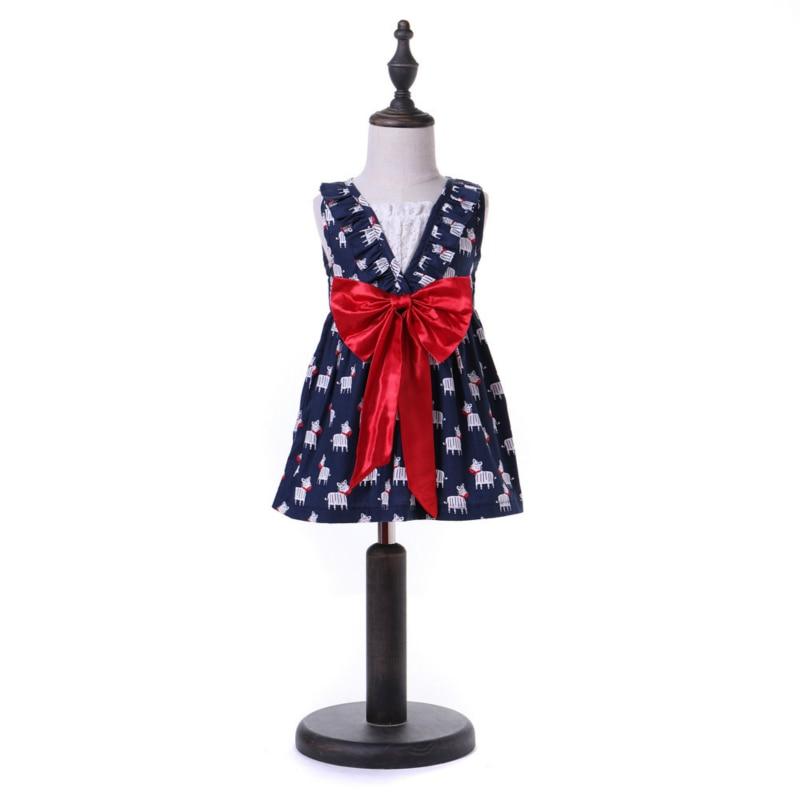 Dress For Girls Summer Sleeveless Little Pony Baby Girl Bow Dresses Cartoon Animals 1-6Y