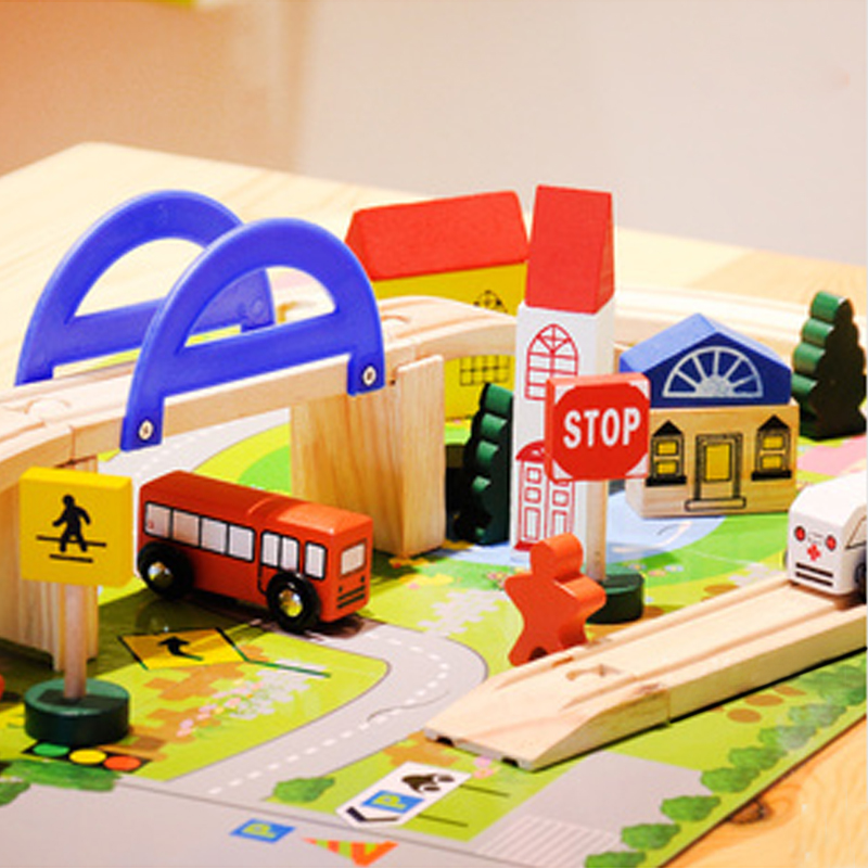 free shipping Situational superba wooden city building blocks track toy building blocks 2y above toy boy gift