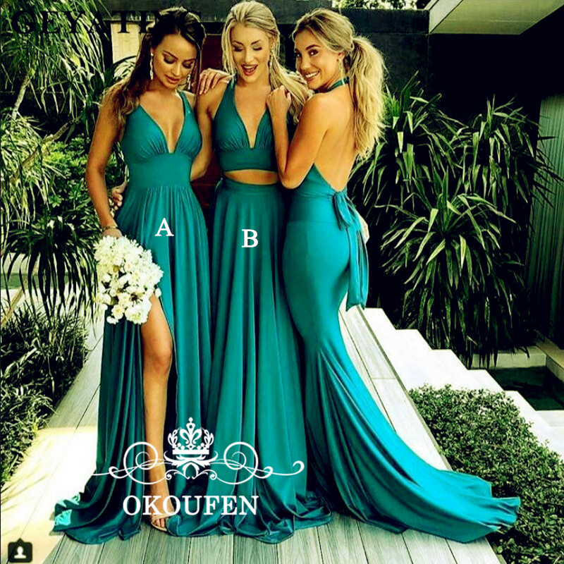 Wholesale Price Long   Bridesmaid     Dresses   For Women Stretchy Satin Sexy Backless Halter 2019 Maid Of Honor   Dress   Party Gown