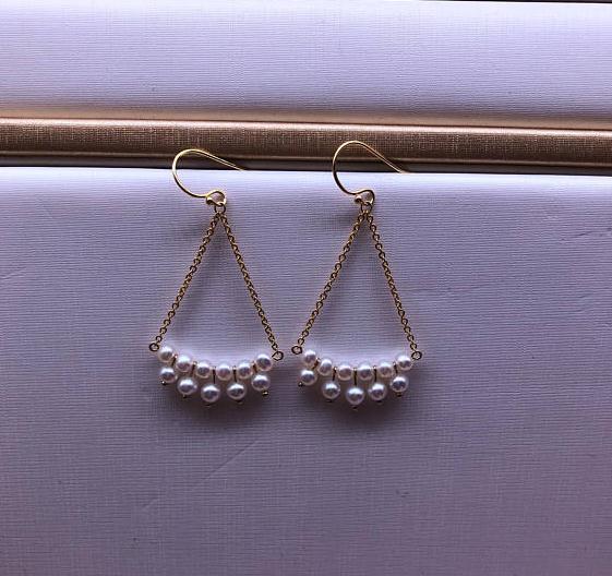 Handmade White Freshwater Pearl Earrings, Gold Filled Dangle Drop Earrings,Wedding Bridal Woman Gift Jewellery.