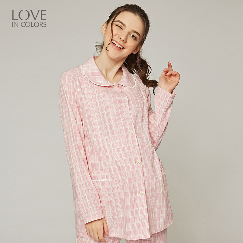 Loveincolors Maternity Women Breastfeed Sleep Suit Full Plaid Turn-down Collar Cotton Pregnancy Women Pocket Lounge