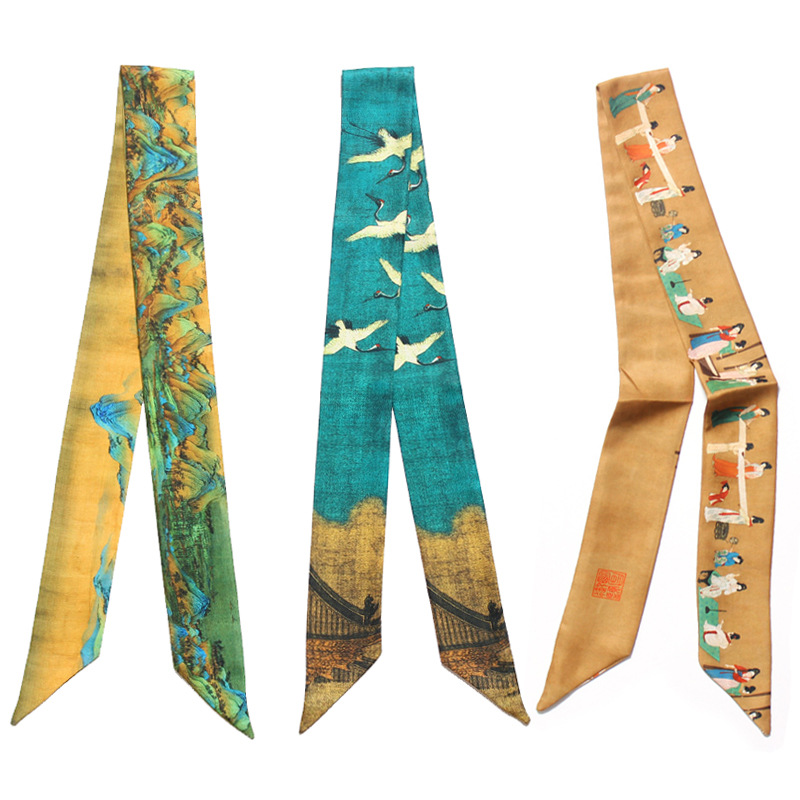 Chinese Ethnic Style Rui Crane Figure Long Thin   Scarf   Women Tied Bag Handle Ribbons Fashion Twill Silk Head   Wraps   Skinny   Scarves
