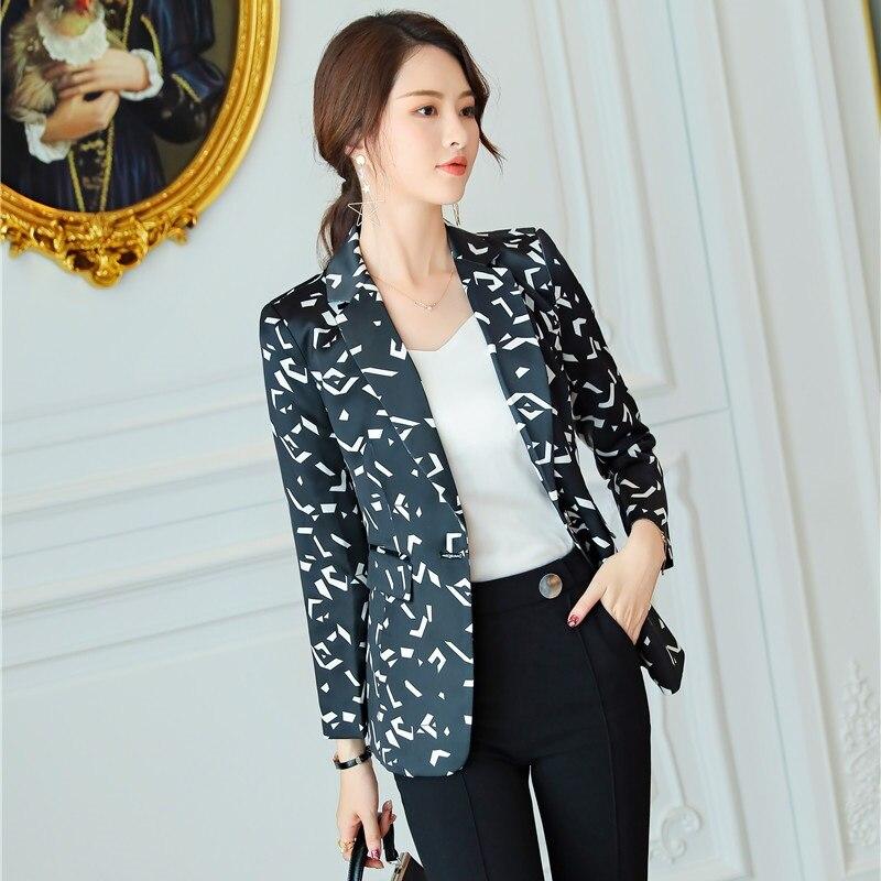 cd36646c19 marron Blazers Bureau Élégantes Vestes Casual Affaires Uniforme Dames Et  Noir blanc Noir Femmes Mode Styles Vêtements Imprimer BPZqEw