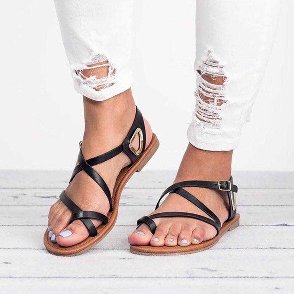 Grande Plates À Femmes Noir Chaussures Sandalias D'été Sandales De POikuTZX