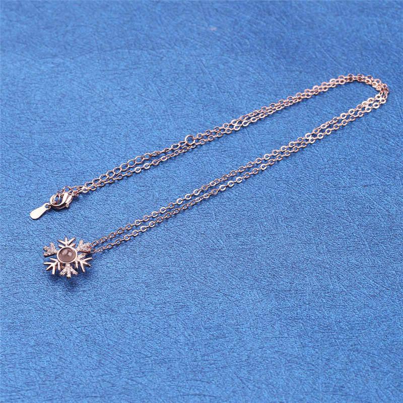 Amor romântico memória casamento floco de neve colar rosa ouro & prata 100 idiomas eu amo você projeção pingente colar