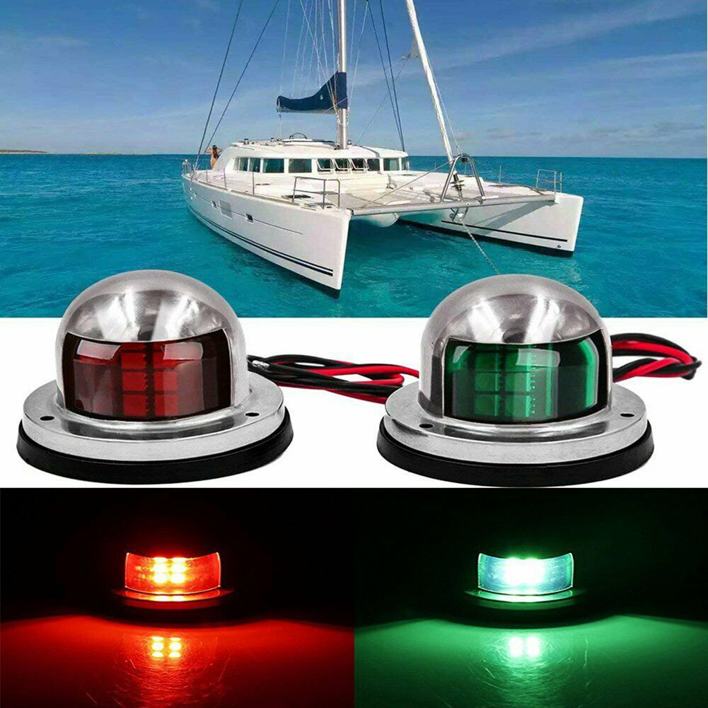 1 Pair Boat LED Lights Marine Boat Yacht Pontoon 12V Stainless Steel LED Bow Navigation Lights