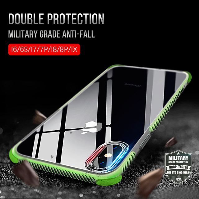 half off b7774 21ca2 US $2.58 20% OFF|Aliexpress.com : Buy Military grade Shockproof Case For  iPhone XS Max XR Cover Soft TPU Transparent phone Case for iphone X 6 6S 8  7 ...