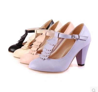 De Beige Comodines Baja Los Alta Japoneses Modelos Grueso negro La Boca Ronda Damas Primavera Zapatos rosado Yardas 2016 Escoge lavanda Bellas Tamaño Con HgSq8