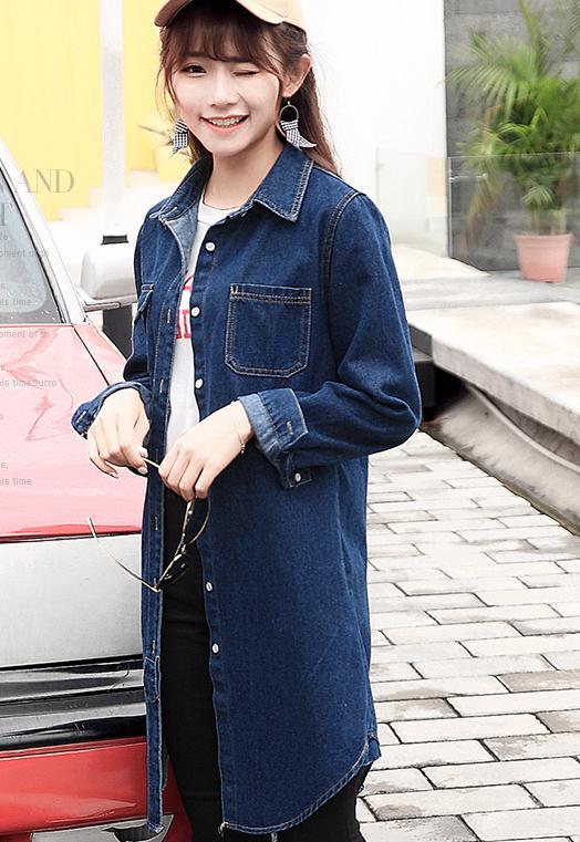 2018 Nouveau Coupe Longueur vent Et Style Manches Longues Lâche Coréen Moyen À Confortable Section Mince Manteau Automne Femme Bleu Cowboy r5BqwTxr