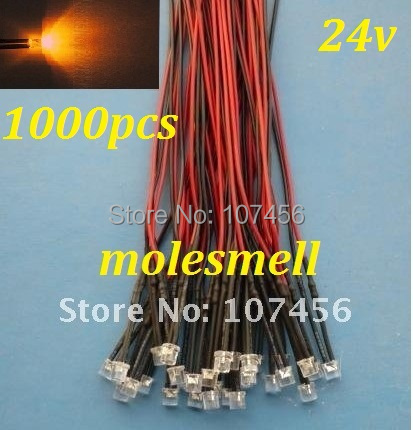 Free Shipping 1000pcs 5mm Flat Top Orange LED Lamp Light Set Pre-Wired 5mm 24V DC Wired 5mm 24v Big/wide Angle Orange Led