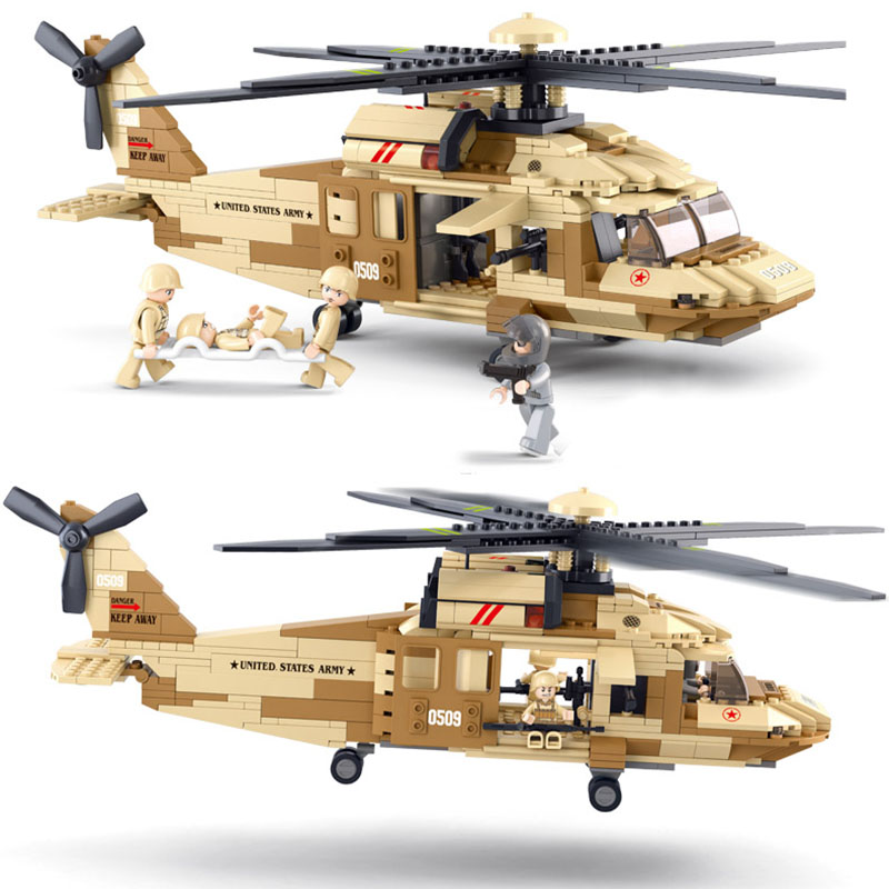 Models building toy 0509 439Pcs War Military Helicopter Army Airplane Building Blocks toys & hobbies