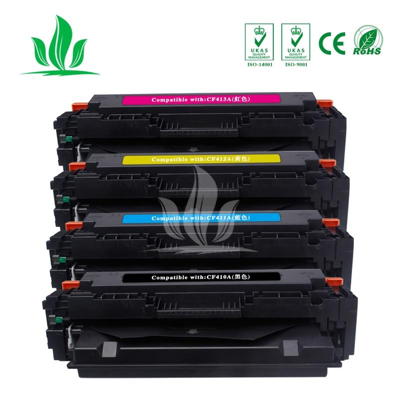 1Set 4 couleurs 410A CF410A CF411A CF412A CF413A cartouche de Toner Compatible pour HP couleur LaserJet Pro M452dn/M477fdw/M477fnw ZH